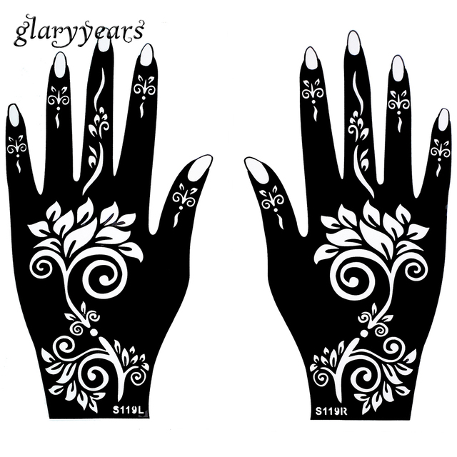 1 para h nde mehndi henna tattoo schablone blumenmuster wasserdicht design airbrush farbe tattoo. Black Bedroom Furniture Sets. Home Design Ideas