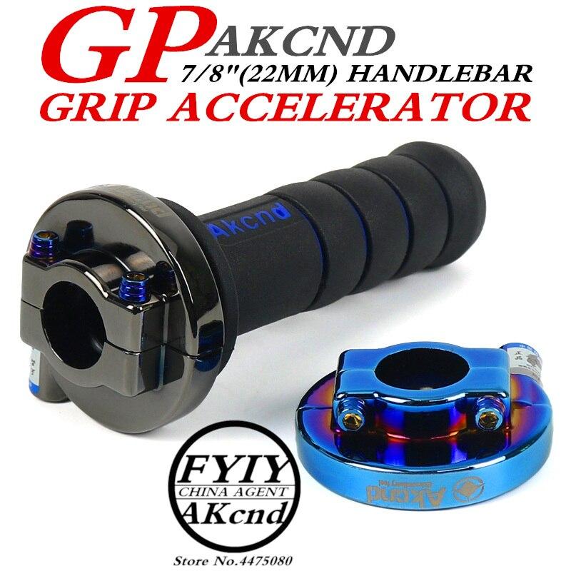 AKCND Universal 7/8 Motorcycle Throttle Twist Grips 22mm CNC Aluminum Grip Accelerator Moped Scooter Dirt Bike Refit Part