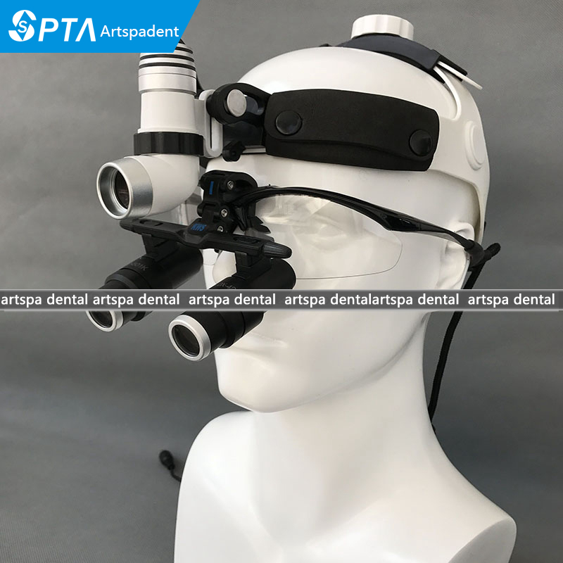 3W LED Surgical Head Light Dental Headlight AC/DC +Kepler Magnifier Dental Glass Loupes (6.5X) 5lens led light lamp loop head headband magnifier magnifying glass loupe 1 3 5x y103