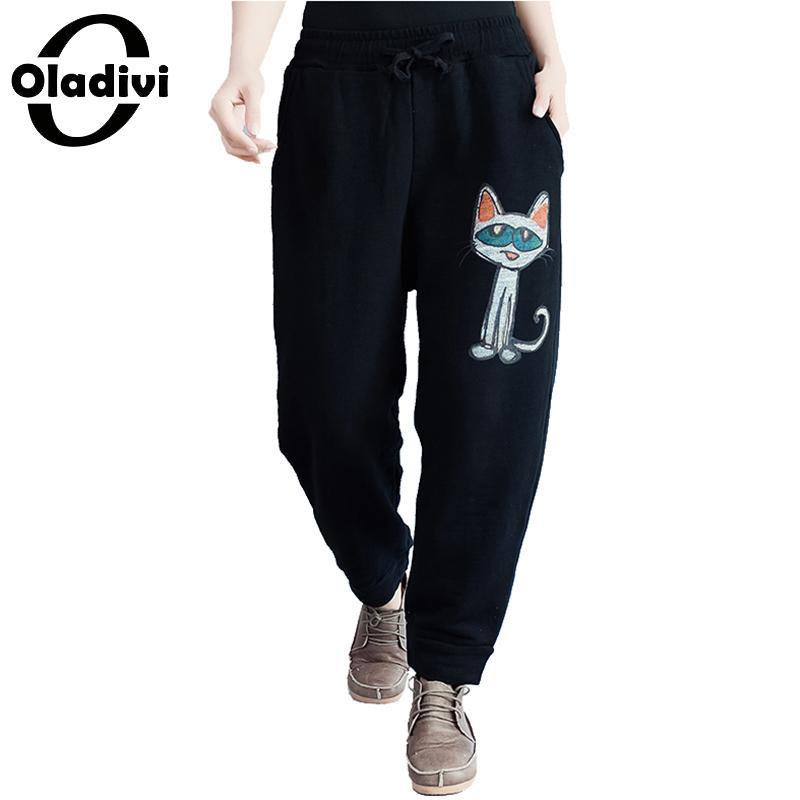 Oladivi Brand Apparel Women Casual Pockets   Pant   Trousers Ladies Fashion Print Loose Black   Capris   Girl Pantalone Harem   Pants