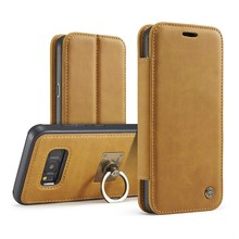 Caseme Retro Leather Case Finger Ring Credit Card Business Cover for Samsung Galaxy S8 / S8 PLUS(China)