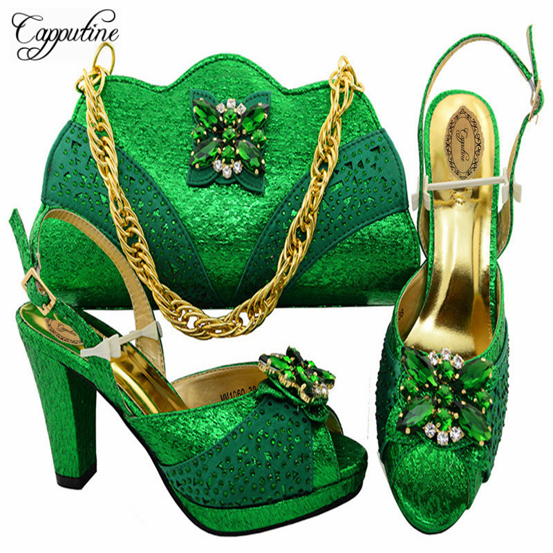 Capputine High Quality PU Leather Shoes And Bag Set Nigerian Rhinestone High Heels Shoes And Bag Set For Party Dress M10604