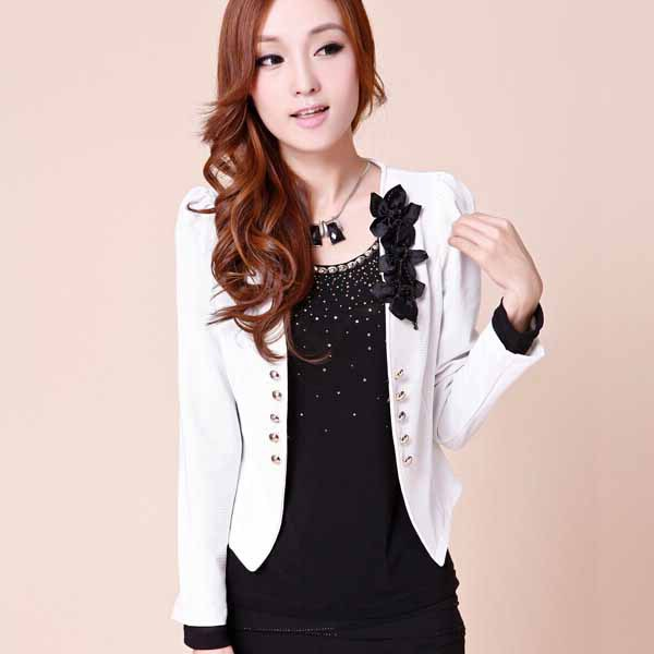 New 2016 Fashion Autumn Women jackets Long-Sleeve V-Neck Bouble Breasted Short Jacket Sl ...