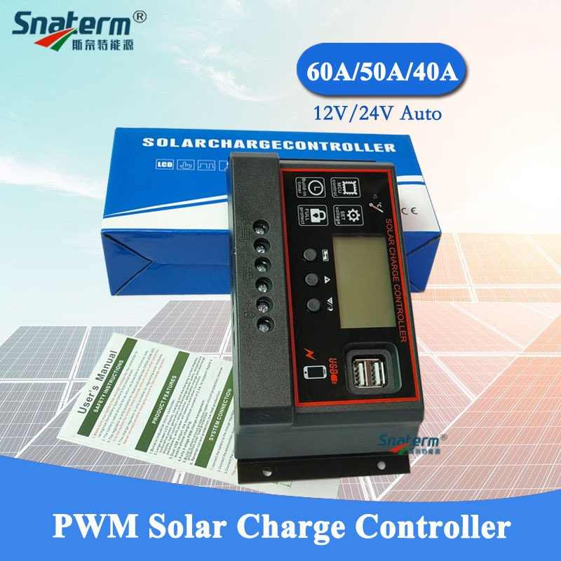 NEW 60A/50A/40A 12V 24V Auto Solar Charge Controller PWM With LCD Dual USB 5V Output Solar Cell Panel Regulator for PV Home