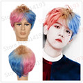 Suicide Squad Harley Quinn dye male man Cosplay wig Multi-Color Short Curly Synthetic Hair Costume party Wigs Halloween