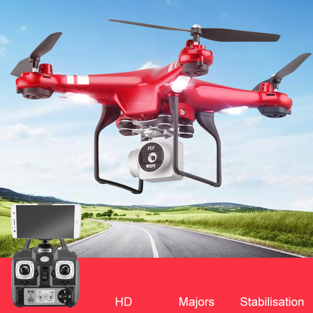 1080P Helicopter Portable HD Camera RC Drone Kids Gift Hold With LED Light WiFi FPV Live One Key Return Quadcopter Toys