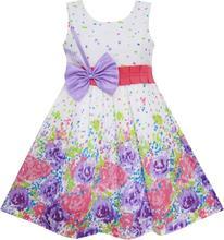 Sunny Fashion платья для девочек новогодние костюмы Пурпурный Лук Наконечник Цветочный Вечеринка Принцесса