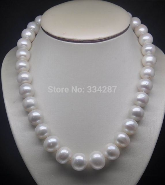 "charm accessory silver shone> 18"" Natural huge 12-13mm AA level white pearl necklace"