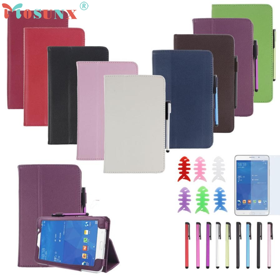 PU Leather Case Stand Cover For Samsung Galaxy Tab 4 7Inch Tablet SM-T230 SM-T231 with Film and Pen Reel jn14 luxury flip stand case for samsung galaxy tab 3 10 1 p5200 p5210 p5220 tablet 10 1 inch pu leather protective cover for tab3