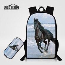 Dispalang Designer Horse Children School Backpack Women Travel Bags Girls Bookbag 2 PCS /Set Pencil Bag Mochila Feminina Bagpack