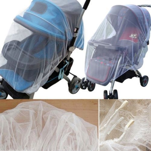 1X Solid Whtie Stroller Pushchair Mosquito Insect Net Mesh Buggy Cover For Baby Infant Crib Netting