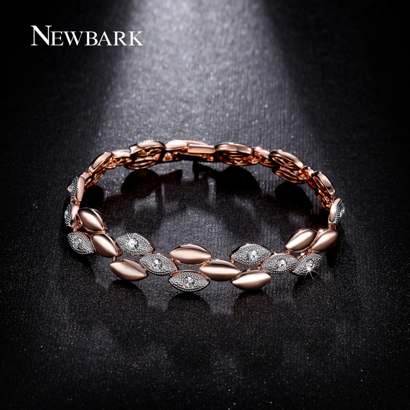 NEWBARK Rose Gold Color Two Tone Bracelet & Bangles for Woman Pave Rhinestones Stone Barcelet Wholesale Pulseira Feminina