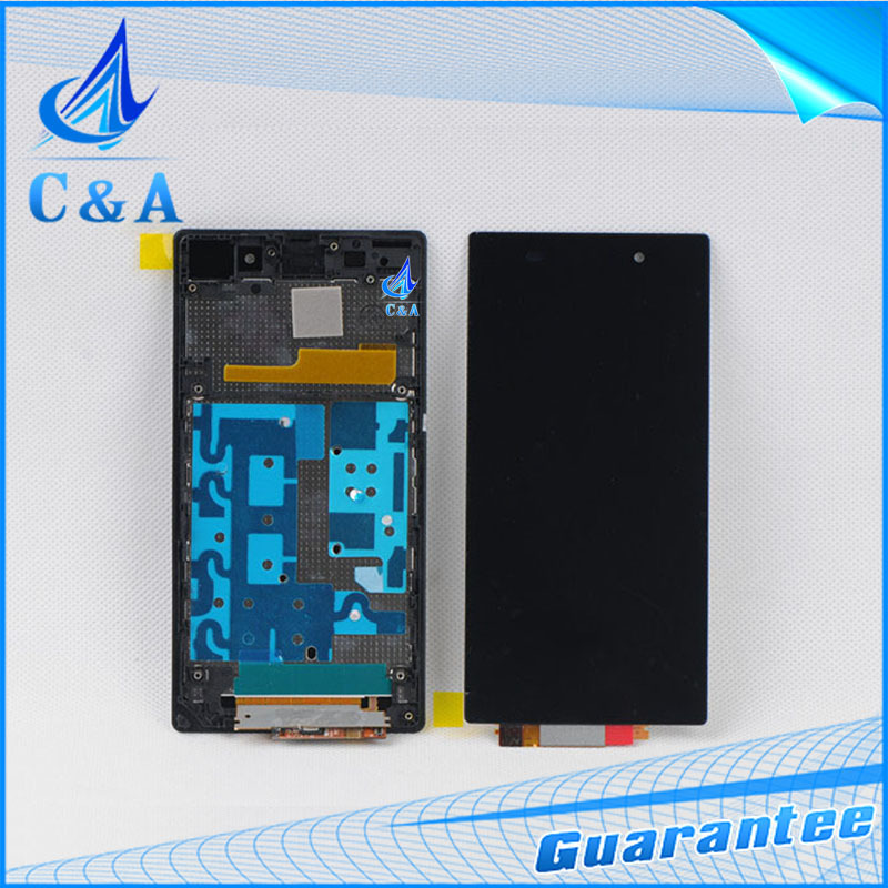 1 piece tested free shipping replacement parts 5 inch screen for Sony Xperia Z1 L39h lcd display with touch digitizer+frame