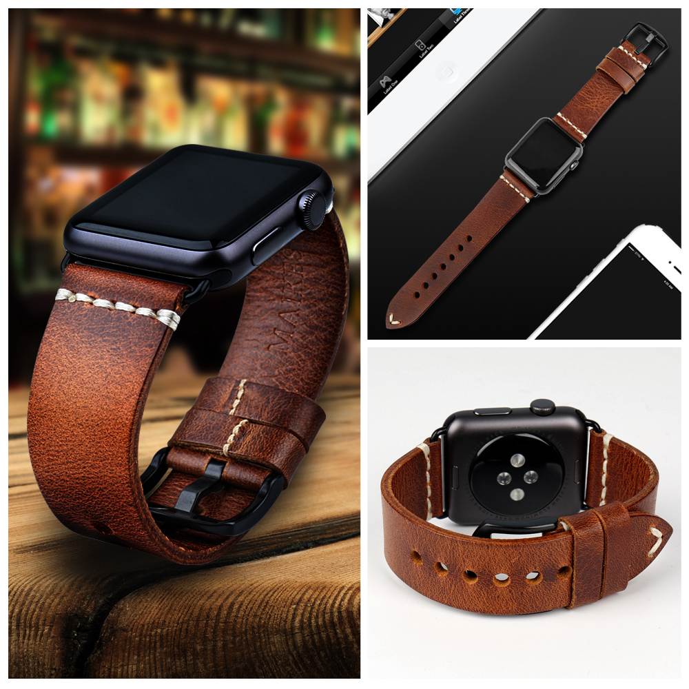 Image 5 - MAIKES Vintage huile cire cuir Bracelet de montre pour Apple Bracelet de montre 44mm 40mm 42mm 38mm série 4/3/2 iWatch montre Bracelet Bracelet de montrestrap for apple watchwatch strapleather watch strap -