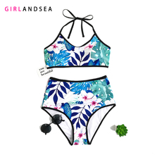 GIRLANDSEA New 2019 High-waisted Bikini Set Printed Swimsuit