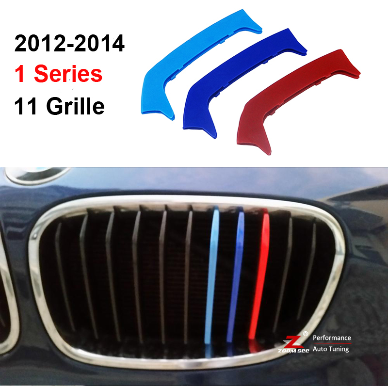 For 2012-2014 BMW 1 series 116i 118i 120i 11 grilles 3D M Styling Front Grille Trim motorsport Strips grill Cover Stickers chrome mesh grille grilles cover trim near front fog light lamp for vw volkswagon touareg 2011 2012 2013 2014
