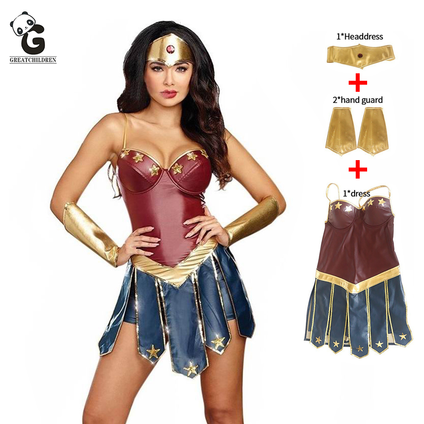 Wonder Woman Costumes Women Justice League Superhero Costume Halloween Costume for Women Sexy Dress Diana Cosplay disfraz mujer ice cream cart toy
