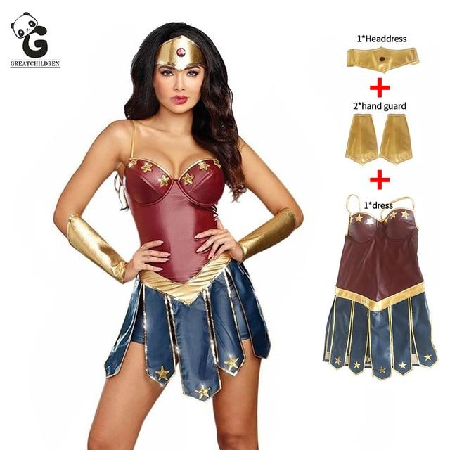 Wonder Woman Kostüme Halloween Kostüm für Frauen Sexy Kleid Diana Cosplay Dame Superhero Kleid Karneval Disfraz Mujer