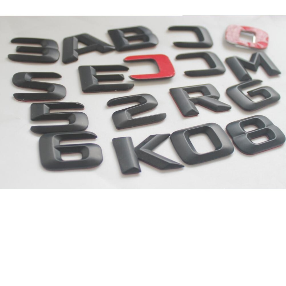 1 set Matt Black ABS Car Trunk Rear Number Letters Words Badge Emblem Decal Sticker for Mercedes Benz E55 AMG in Emblems from Automobiles Motorcycles