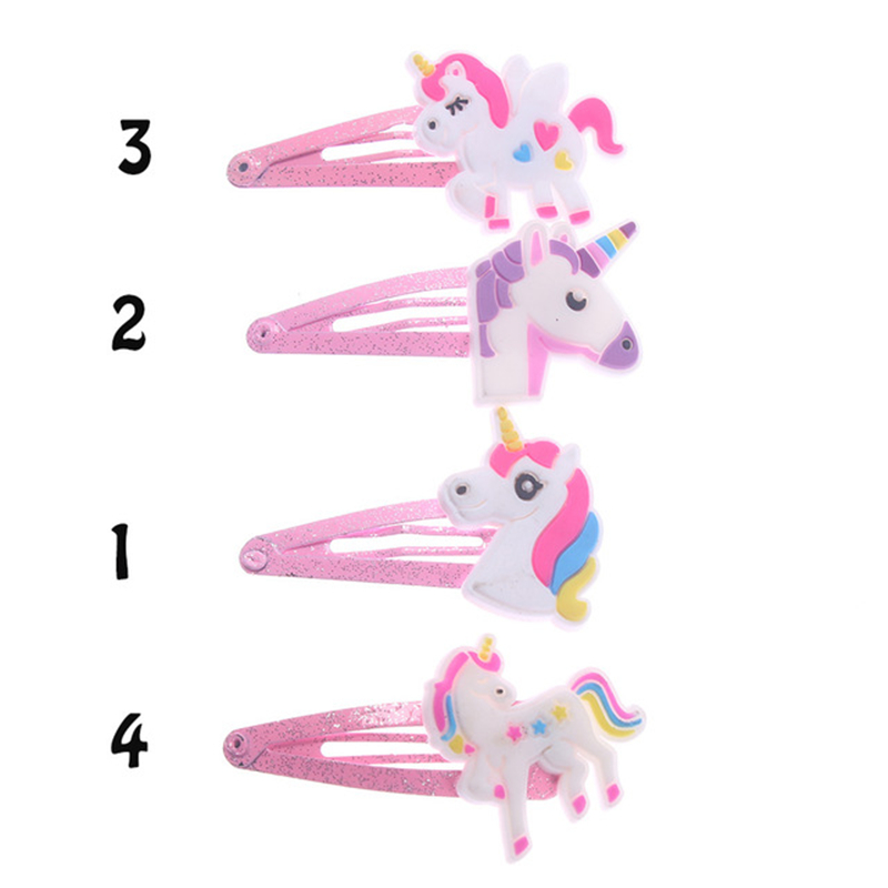 2PCS 4 Colors Glitter Unicorn Hairclips Cartoon Animal Hair Clips Cute Plastic Hairpins Kids Bobby Pin Hair Styling Tools