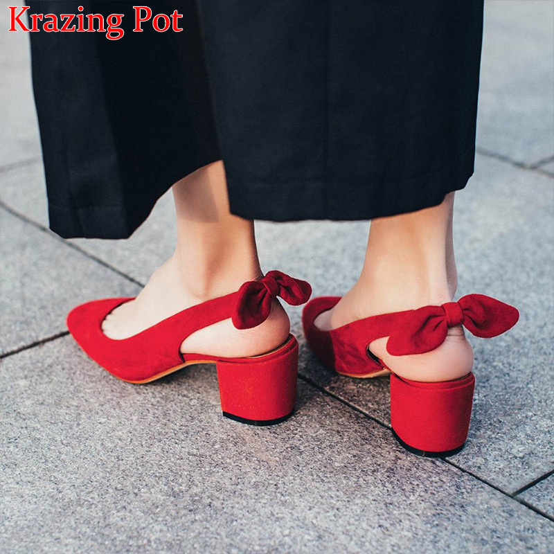 2018 Superstar Concise Kid Suede Slingback Bowtie Square Toe High Heels Women Sandals Slingback Office Lady Red Wedding Shoes bigtree office lady dress shoes women high heels pointed toe solid string bead sandals concise slingback shoes stilettos 34 40