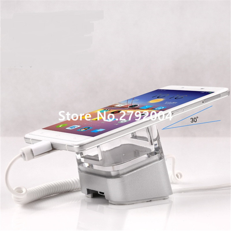 10 pcs/lot mobile phone alarm display stand iPhone Android alarm lock charging  holder wholesale price mobile phone anti theft alarm display stand with charging for exhibition