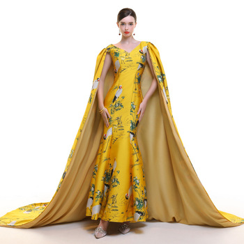 Crane Yellow Chinese Evening Dress 2019 With Shawl Mermaid Embroidery Cheongsam Traditional Wedding Gold Brocade Gown Qipao