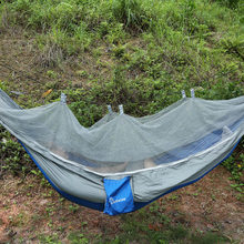 Outdoor Hammock Folded Into Pouch Mosquito Net Hammock Tent Hanging Bed For Travel Kits Camping Garden Swing Hammocks(China)