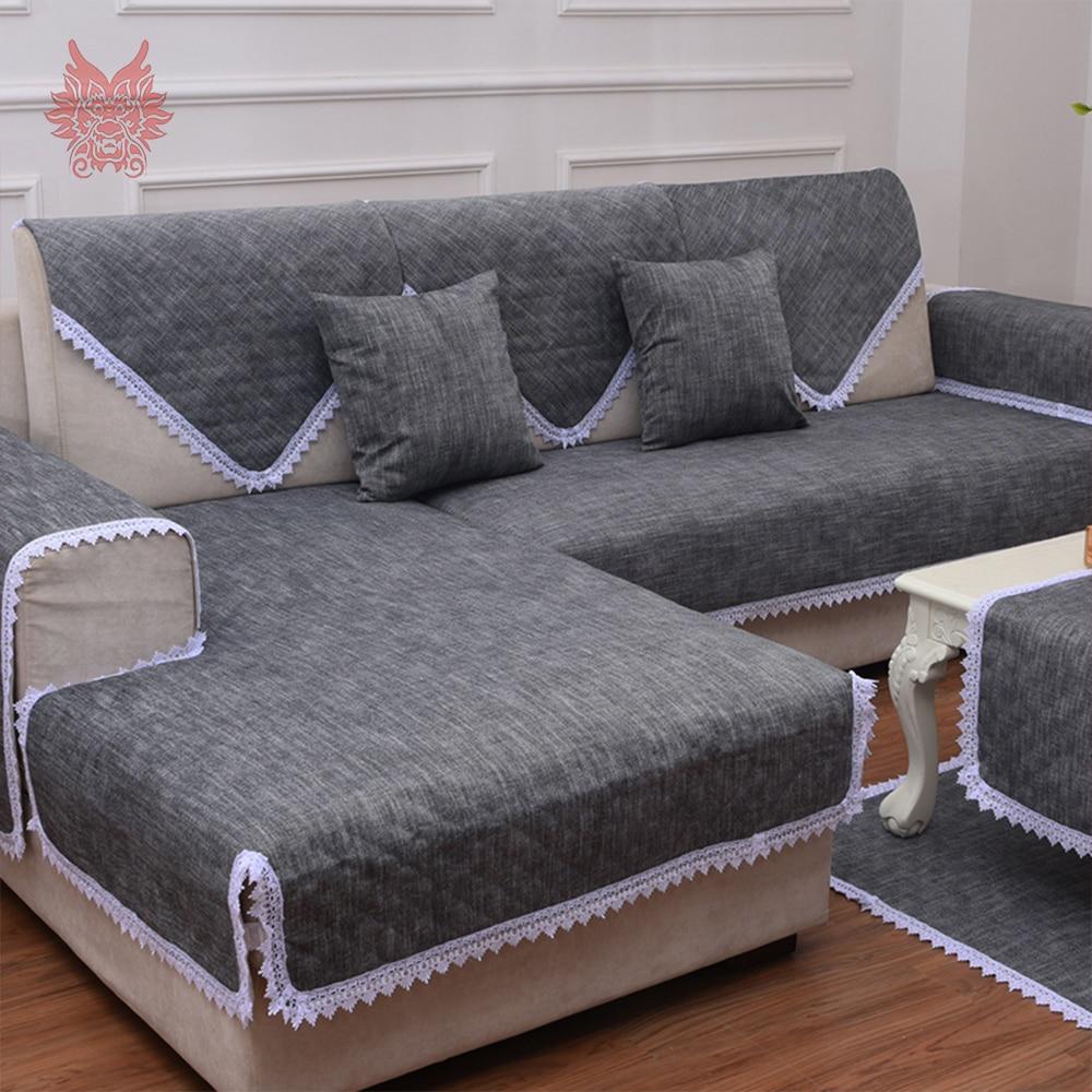 Black Sofa Cover Lace Decor Cotton Linen Slipcovers Canape