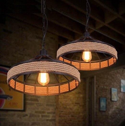 Электрическая лампочка эдисона Лофт Стиль подвесной светильник, украшенный пеньковой веревкой Винтаж подвесные светильники промышленного Освещение в помещении для Обеденная подвесной светильник