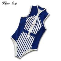 Rhyme Lady One Piece Swimsuit Women Swimwear Push Up Bathing Suit Striped Print Beach Wear Tight