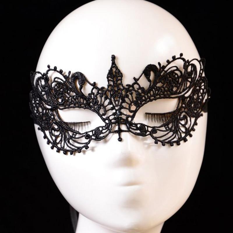 2 teile/los Schwarz Sexy Dame Spitze Gesicht Maske Augen Maske für Maskerade Halloween Venetian Kostüme Karneval Phantasie Partei Maske für frauen