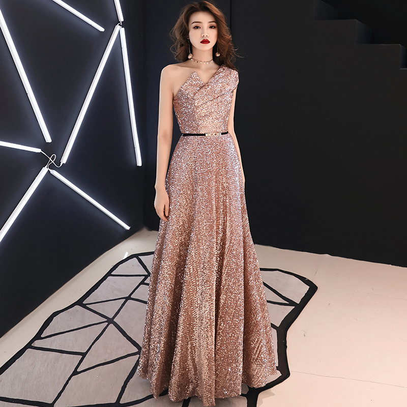 2019 New Long Evening Dress Wine Red Back V Neck Shine Sequin Sparkle Elegant Women Evening Party Gowns LYFY78(China)