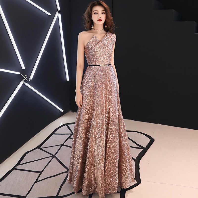 2019 New Long Evening Dress Wine Red Back V Neck Shine Sequin Sparkle  Elegant Women Evening 632b477550de