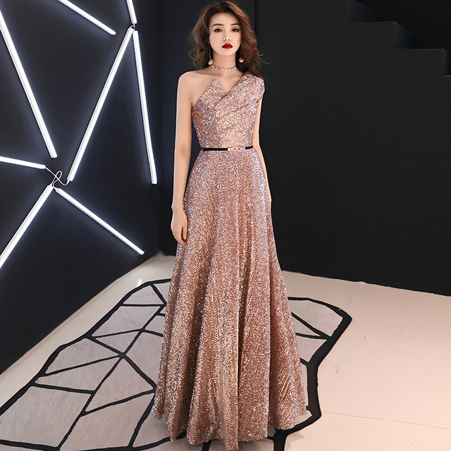 2019 New Long Evening Dress Wine Red Back V Neck Shine Sequin Sparkle Elegant Women Evening