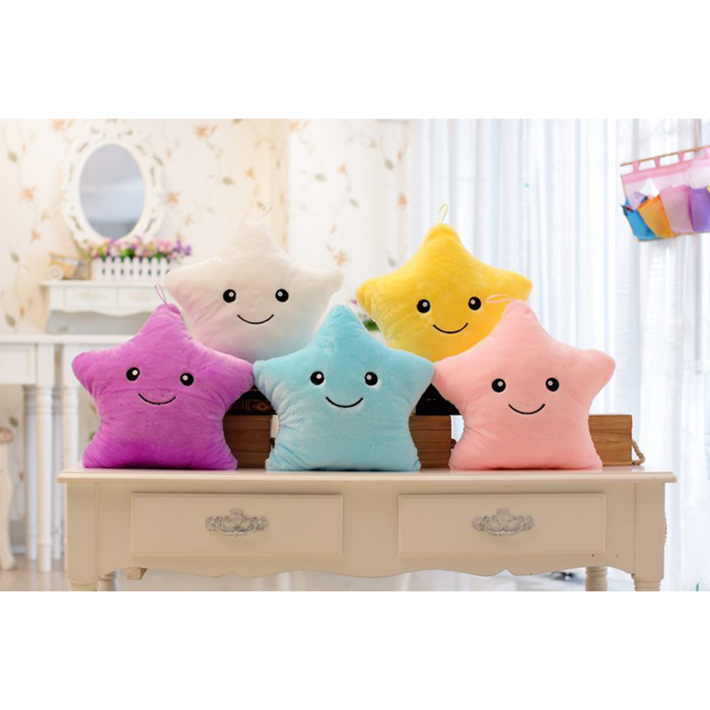 Children s Day Colorful Plush Pillows Star Glow LED Luminous Light Cushion Pillow Soft Relax Shining Birthday New Year Gift