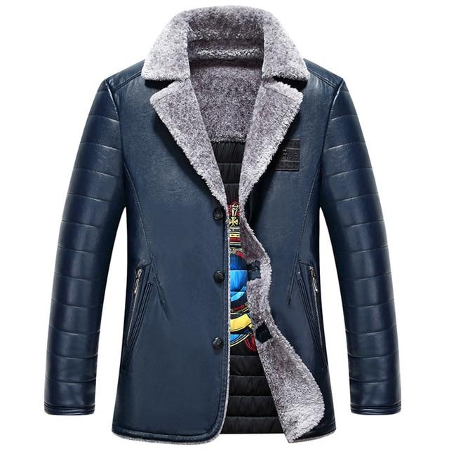 Branding Clothes Business Mens Fur Leather Jacket Overcoat Winter Gold Mens Fur Bape Leather Jackets Velvet Free Shipping C277
