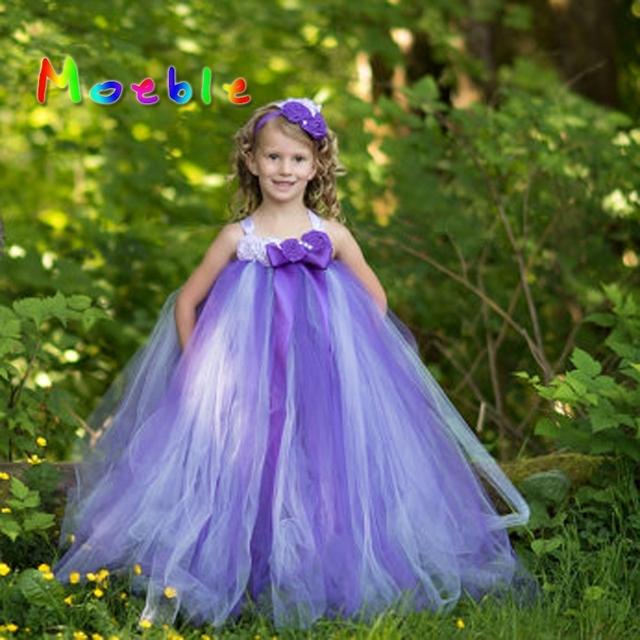 68931f480 Purple Lavender Baby Girls Flower Dresses Kids Girl Soft Tulle Tutu ...