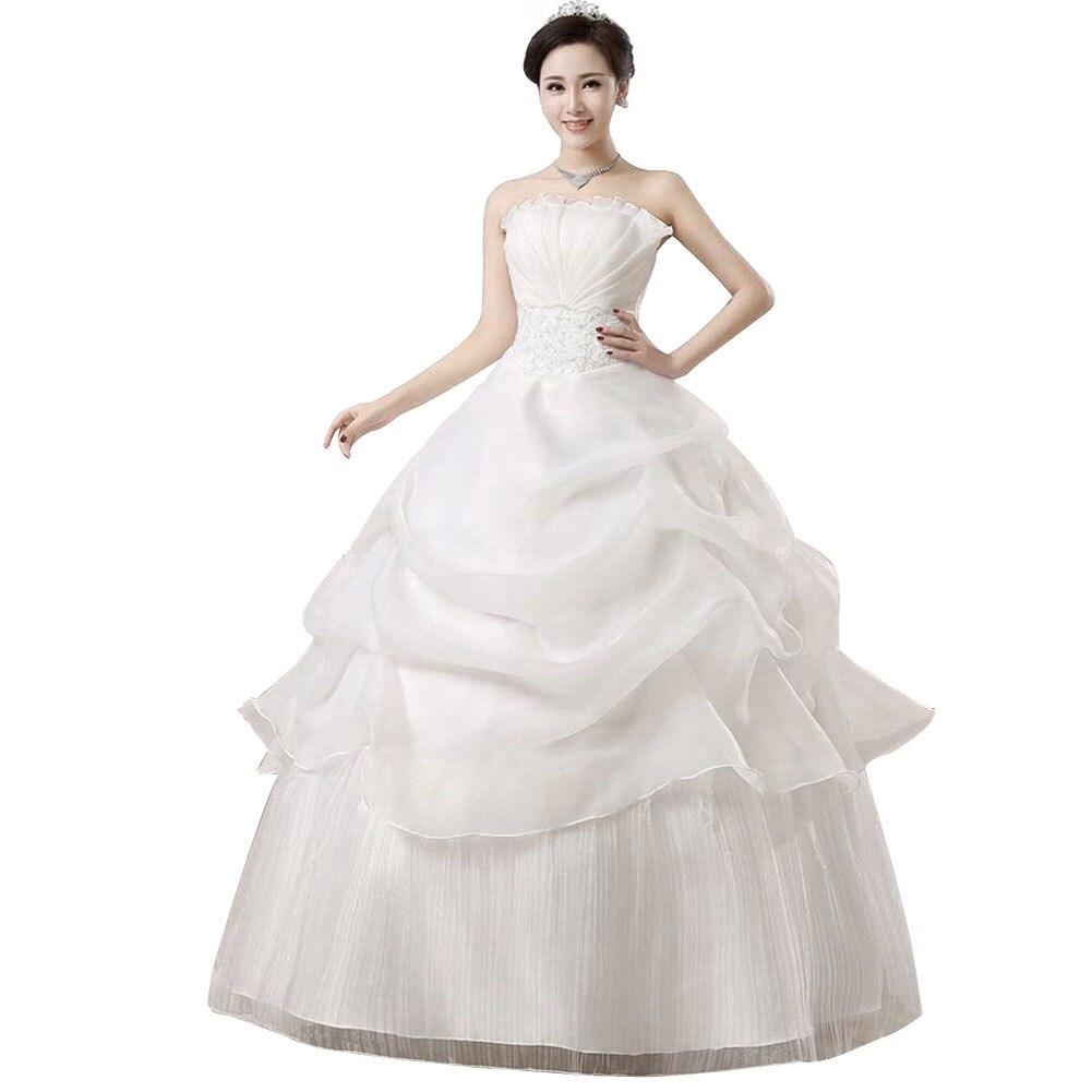 Bridal Ball Gown Dress Off Shoulder Strapless Lace Up Princess Dresses -MX8