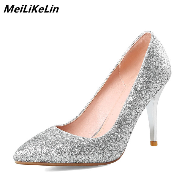 MeiLiKeLin Bling Women Sexy Pumps Glitter Shoes High Heels Pointed Pumps  Lady Wedding Red Sole Shoes 3 Heels Woman Silver Shoes 05eab3d27538
