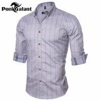 PoniGalant בגדי מותג 100% גברים חולצה משובצת מכותנה באיכות גבוהה Mens עסקי גברים חולצה שמלת Camisa חברתי אסיה גודל M-5XL