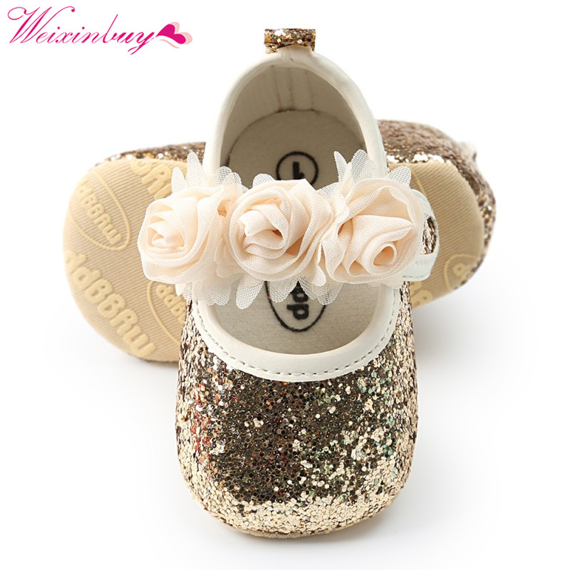 Newborn Baby Girl Shoes Spring Flowers Sequins Bling Baby Shoes Fashion Cotton First Walkers Baby Girl Shoes