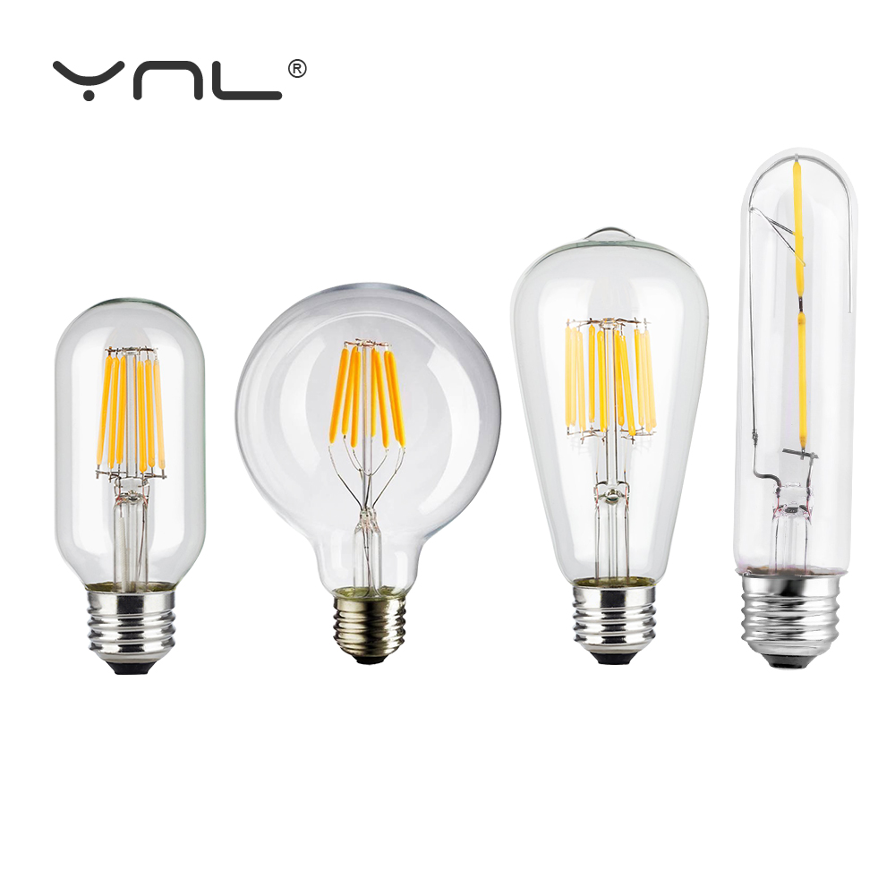 Vintage LED Edison Bulb Brand Antique Retro Vintage LED Filament Bulb E27 E14 2W 4W 6W 8W LED Edison Light Glass Bulb 220V high brightness 1pcs led edison bulb indoor led light clear glass ac220 230v e27 2w 4w 6w 8w led filament bulb white warm white