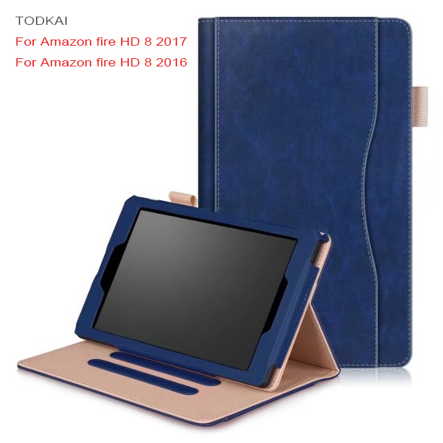 luxury Smart Case For Amazon 2017 New Kindle Fire HD 8 '' Tablet Cover For Amazon Fire HD 8 2015 case with Card Slots Hand Strap alabasta case for amazon kindle fire 7 2015 2017 genearl cover 7inch hand strap stand eva foorball design kids child boy save