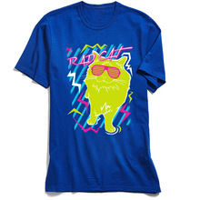 Tops T Shirt Rad Cat Men T-Shirt Blue Hip Hop Tshirt Lovers Day Slim Fit Cool Short Sleeve Cotton Funny Tees Drop Shipping