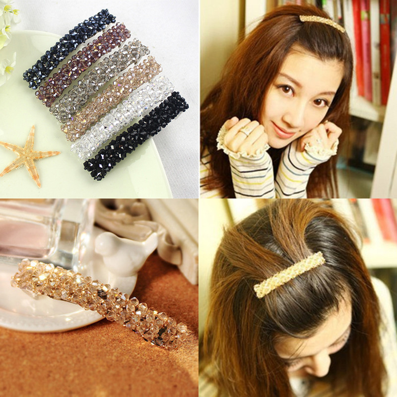 2016 New Fashion Full Crystal Lovely Handmade Beads Barrette Hairclips Hair Pin Girl Women Hair Accessories Korean Style Hot 1pc fashion lovely women girl metal leaf hair clip crystal hairpin barrette headwear christmas party hair accessory 2016 hot