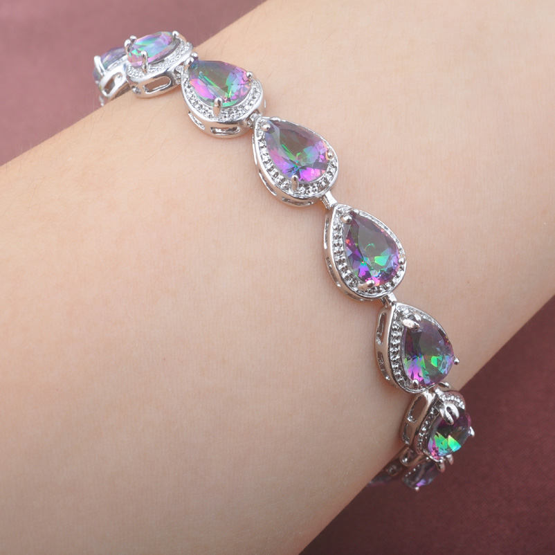 2017 Fashion Multicolor Rainbow Zircinia Water Drop 925 Sterling Silver For Women Link Chain Bracelet 7-8 inch OS0154