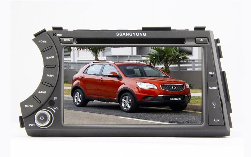 2 din 7'' SSANGYONG Kyron / Actyon dvd player with GPS touch screen ,steering wheel control,stereo,radio,usb,BT image