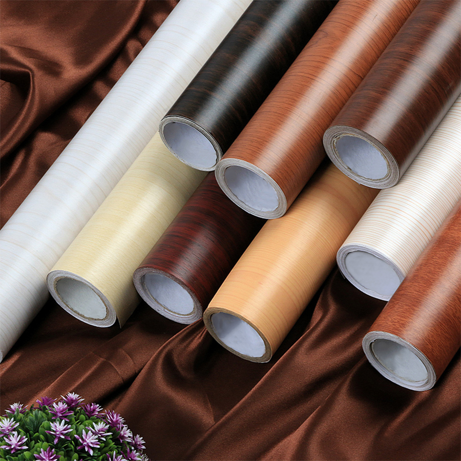 DIY Kitchen Cupboard Furniture Decorative Film Self Adhesive Wood Grain Vinyl Wallpaper Modern Living Room PVC Waterproof Decals