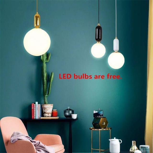 Glass Ball Pendant Lights E27 Modern LED Luminaire Nordic ...